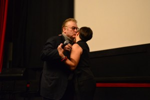 Producer, Agent and Casting Director Dominique Besnehard embraced Laurence Teinturier upon receiving his award- Photo by Christopher Semmes