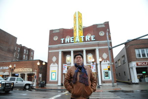 81 - Dominique Besnehard in front of the Avon Theater in Stamford... - Photo by Stéphane Kossmann