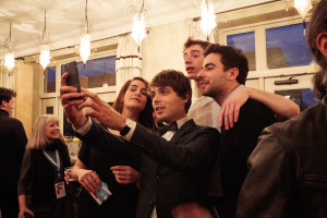 The Delegation of Directors and Actors from Quebec is doing a group selfie, Oscars-style, with CINEMANIA Director Guilhem Caillard (credit - Elaine Ubina)